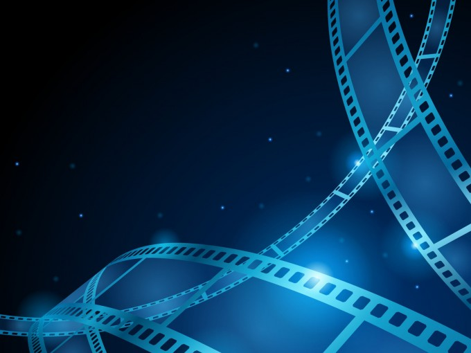Blue movie, film strip PPT Backgrounds