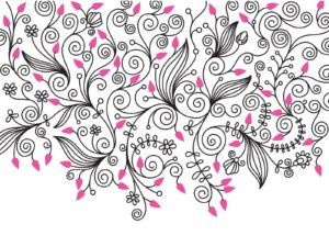 Decorative Flower Swirls Background