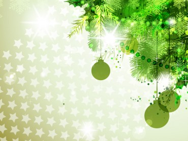 Green with new year decorations