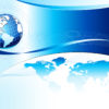 Globe with the sky on the powerpoint background