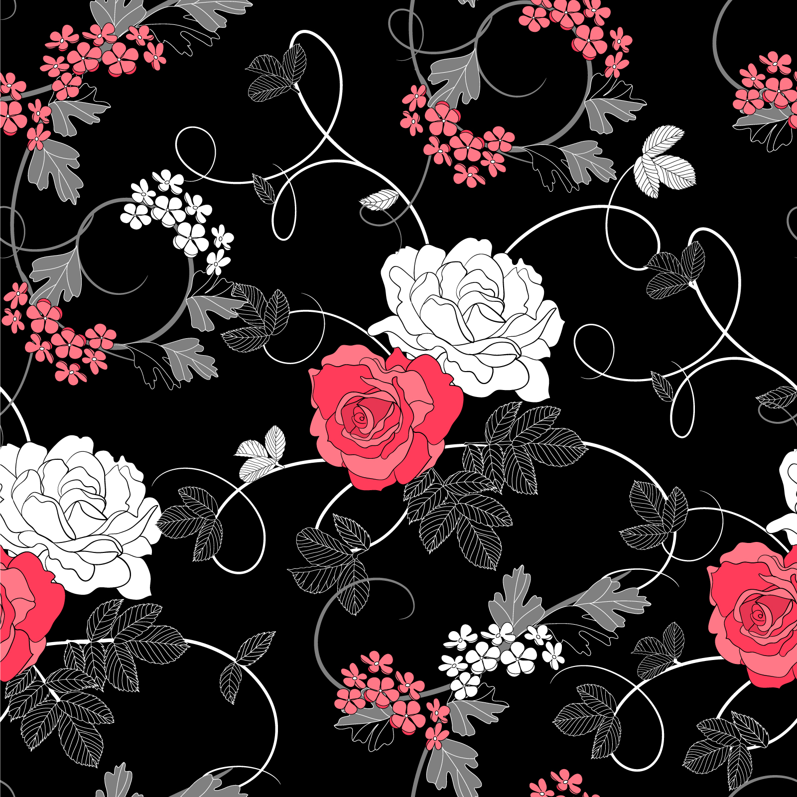 Black And White And Pink Floral Background