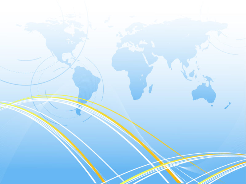 Blue map of the world ppt backgrounds