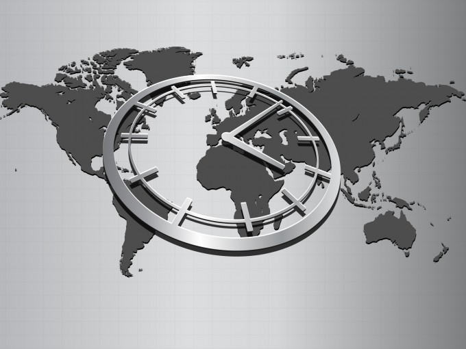 World map with wall clock PPT Backgrounds