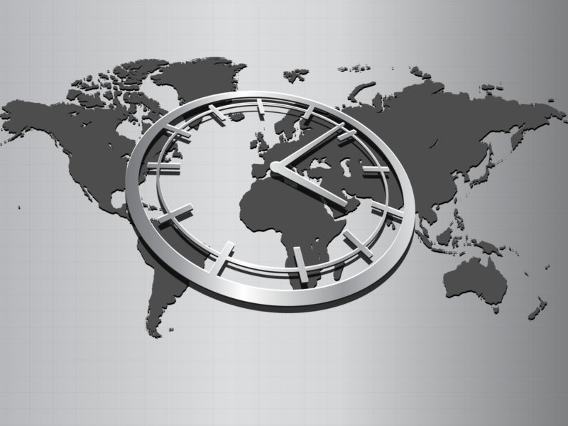 World map with wall clock powerpoint backgrounds