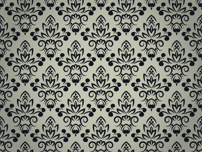 Black Floral Pattern with Seamless PPT Backgrounds
