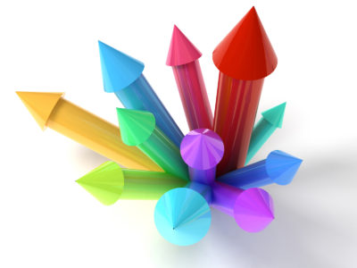 Colored Upwards Arrows Competition PPT Template