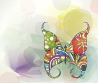 Multi color sweet butterfly powerpoint backgrounds