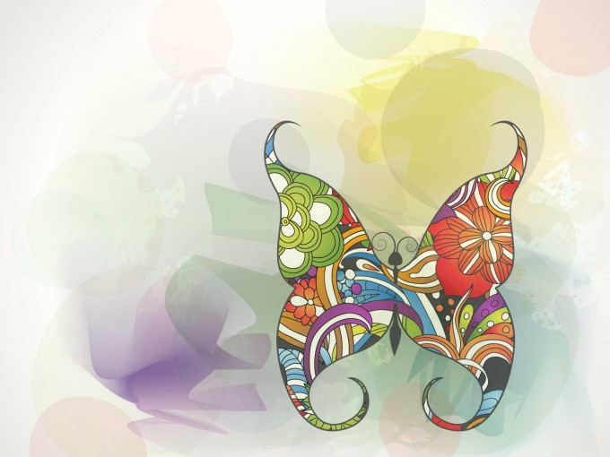 Multi color sweet butterfly PPT Backgrounds