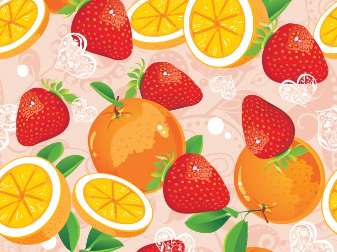 Strawberry and Orange Pattern PPT PPT Backgrounds