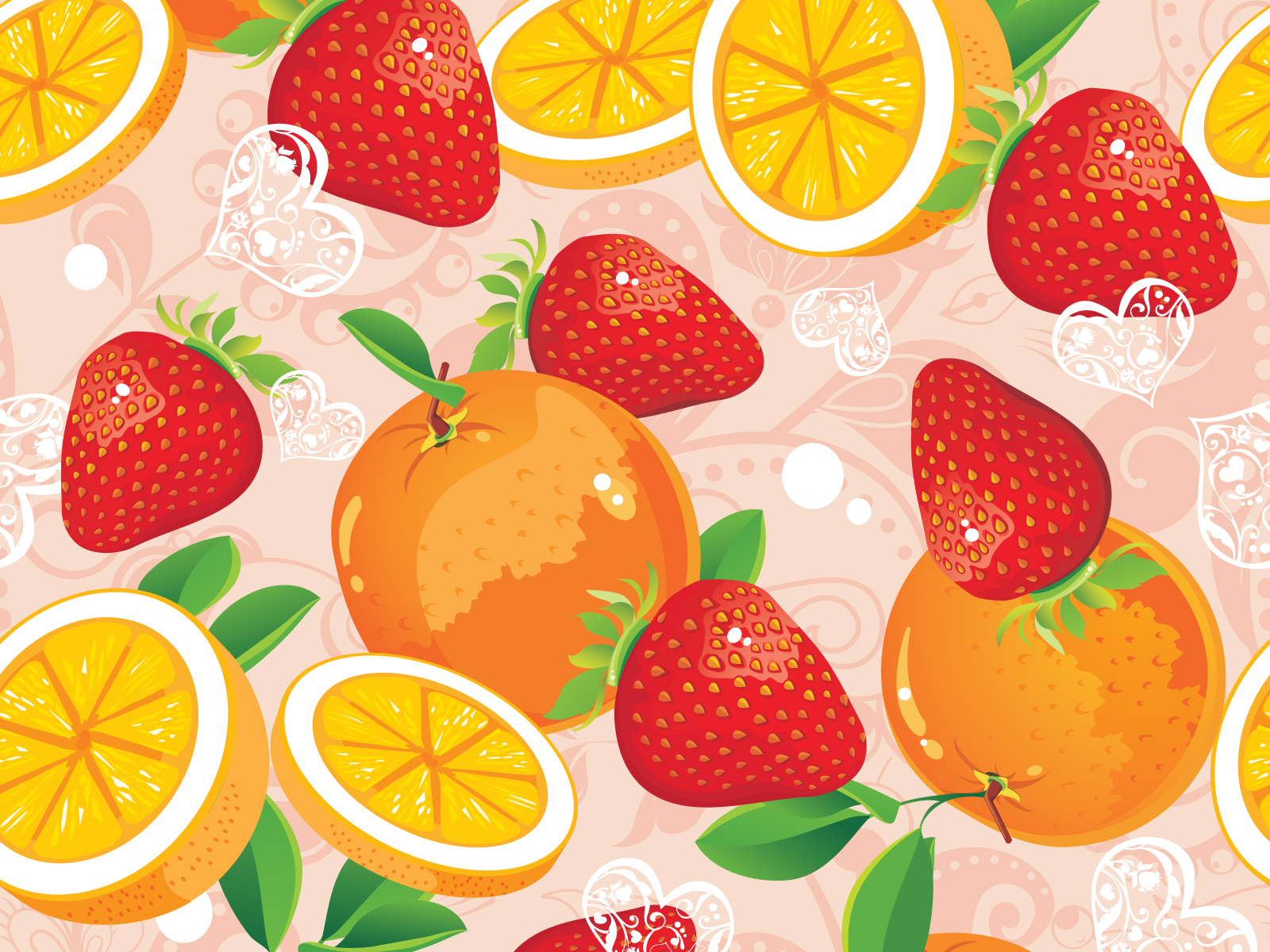 Strawberry And Orange Backgrounds Colors Green Multi