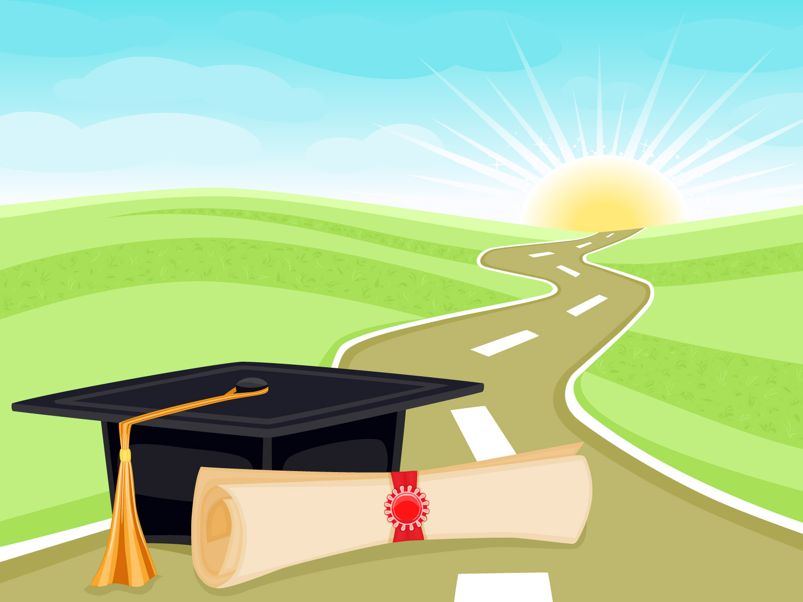 Graduation and Life PPT PPT Backgrounds - Blue ...