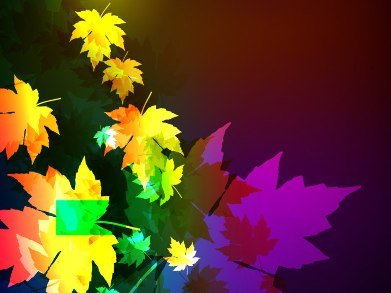 Neon Maple Leaf PPT Template