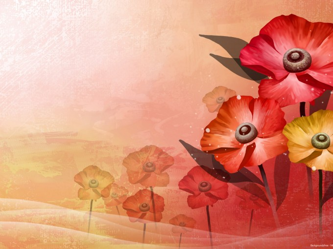 Red Flower Vector Powerpoint PPT Backgrounds