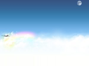 Airplane with sky and clouds powerpoint backgrounds