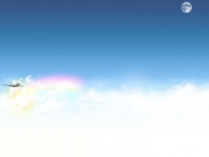 Airplane with sky and clouds PPT Backgrounds