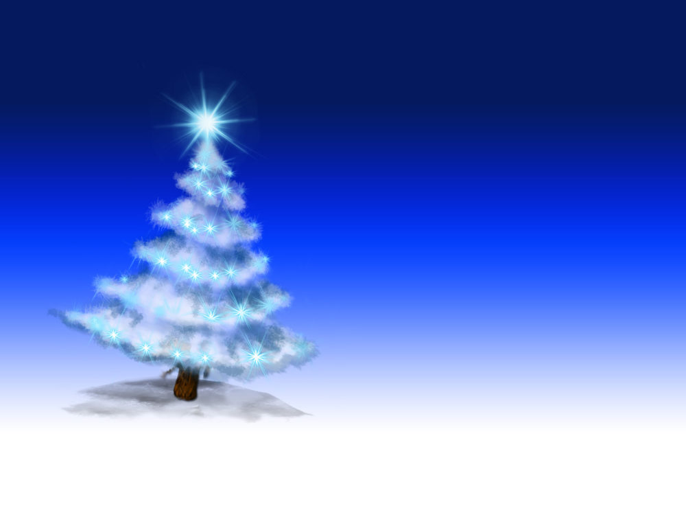 Christmas Tree on Blue Powerpoint Backgrounds - Blue, Christmas ...