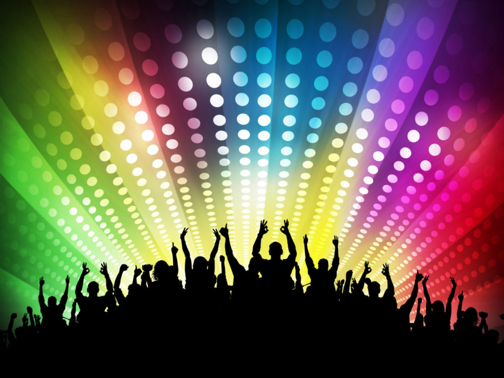 Club Disco Party Powerpoint PPT Backgrounds - Beige, Black