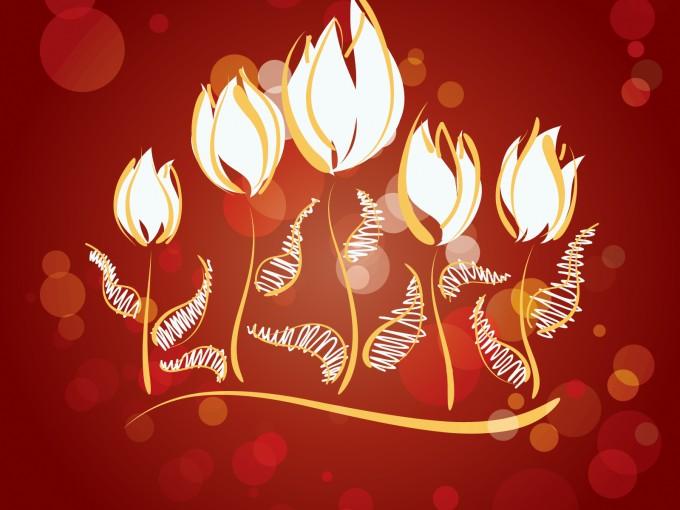 Fire Flowers Design Slide PPT Backgrounds