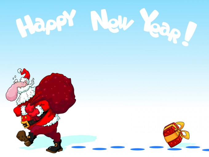 New Year Santa Powerpoint Design PPT Backgrounds