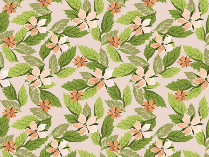 Seamless Floral with Leaves PPT PPT Backgrounds