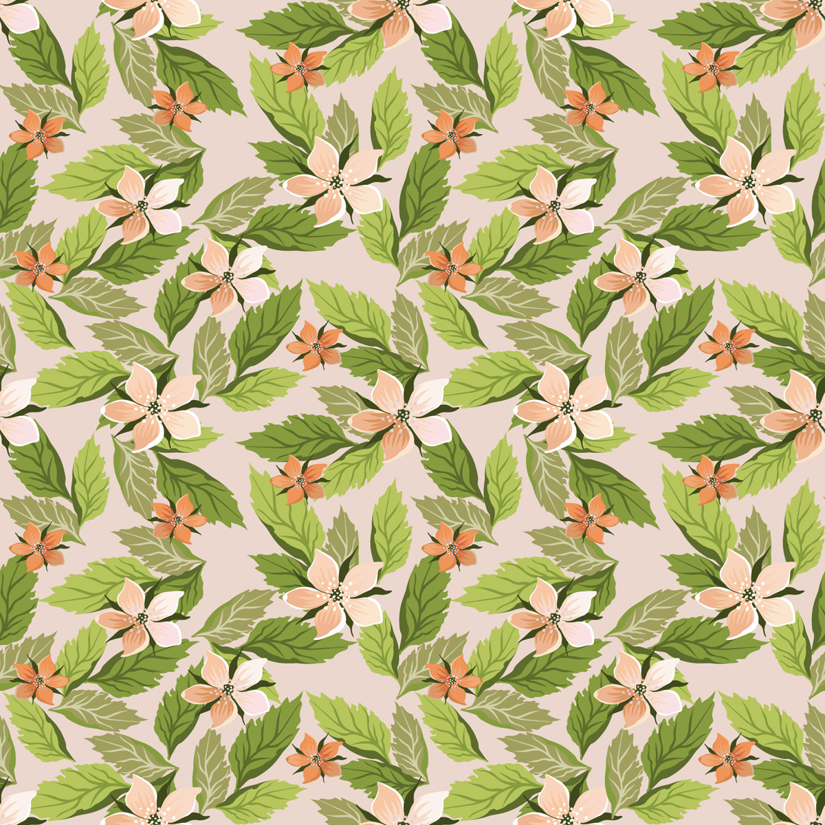 Seamless Floral with Leaves PPT Backgrounds