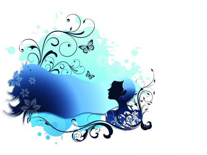 Blue Girl with Floral Vector Illustration PPT Backgrounds