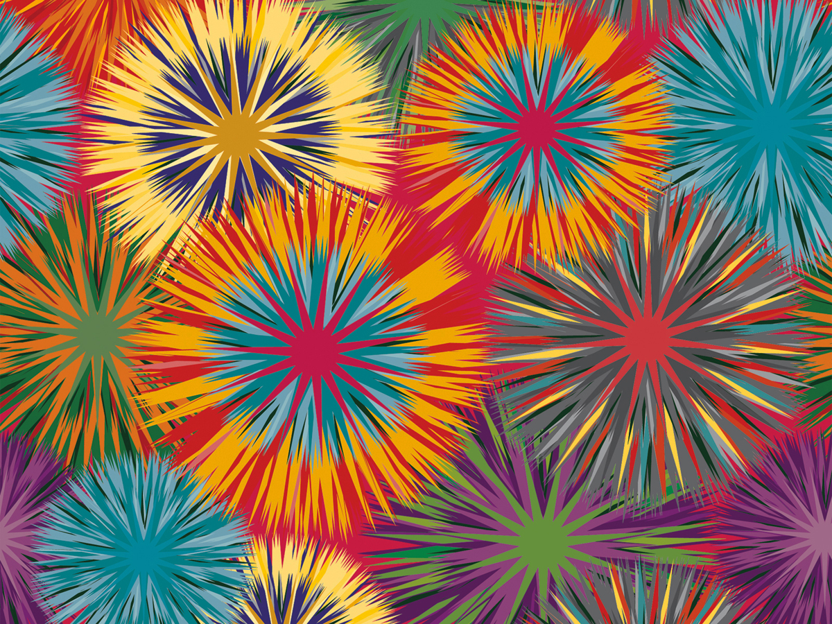 Abstract Colored Flowers
