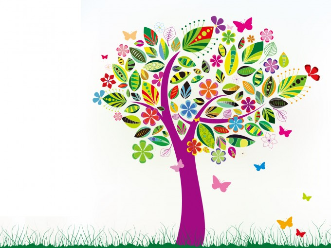 Abstract Tree with Flower Patterns PPT Backgrounds