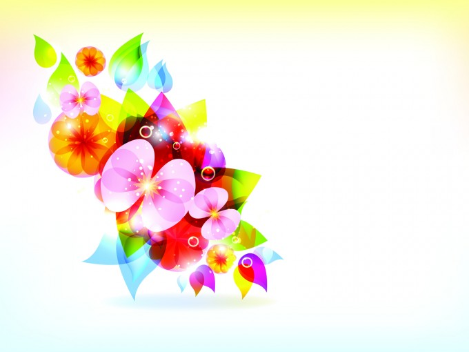 Colorful Flowers Vector Template PPT Backgrounds
