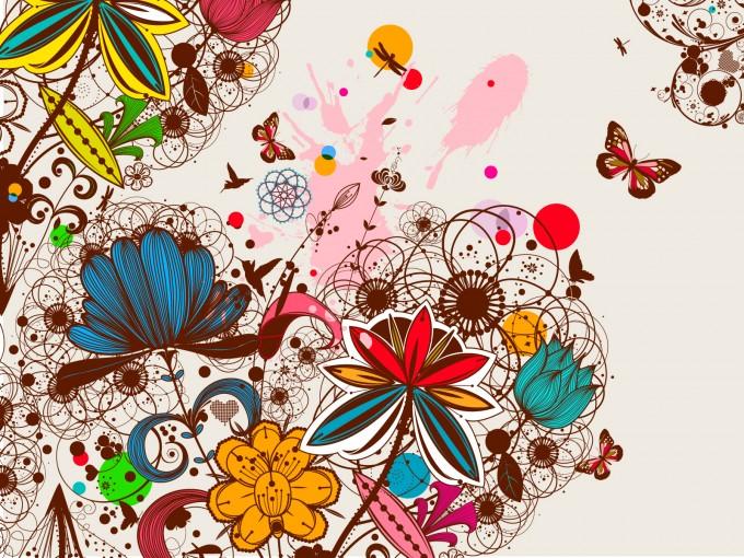 Creative Vintage Floral Design File PPT Backgrounds