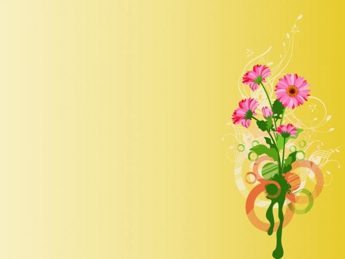 Pink Flowers on Yellow PPT Backgrounds