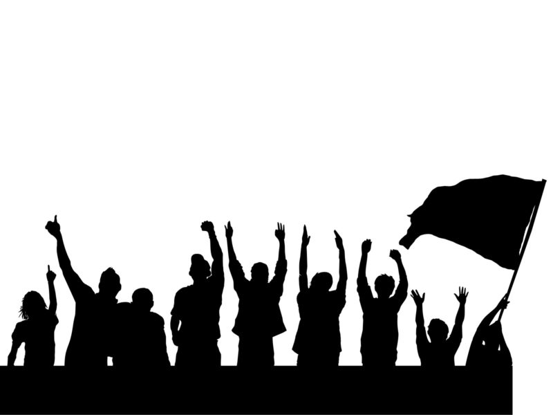 black and white protest powerpoint design