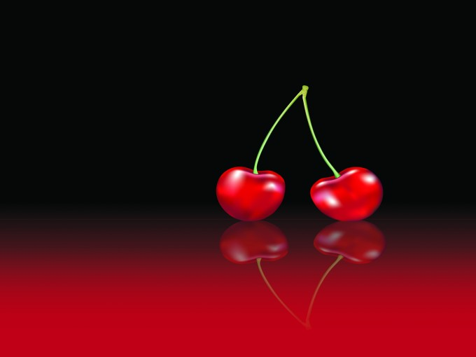 Red cherries foods PPT Backgrounds