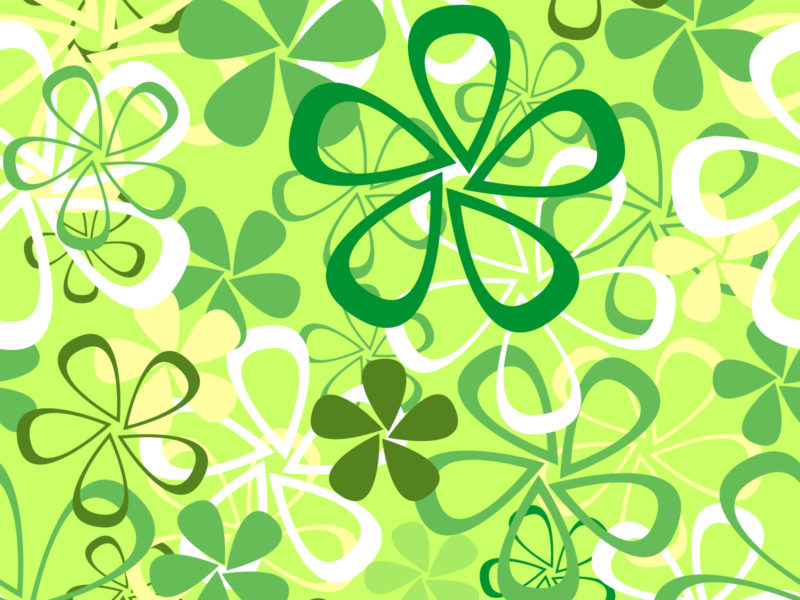 Green Flowers PPT Backgrounds