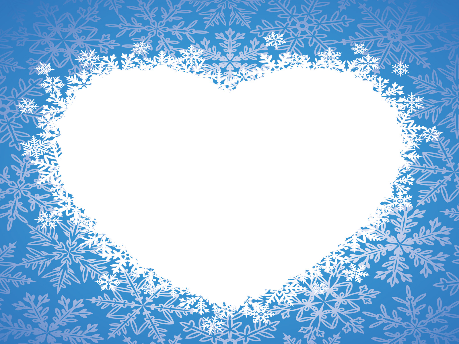 love winter heart ppt backgrounds - blue, love, white templates, Powerpoint templates