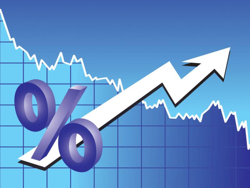 Blue arrow world finance chart