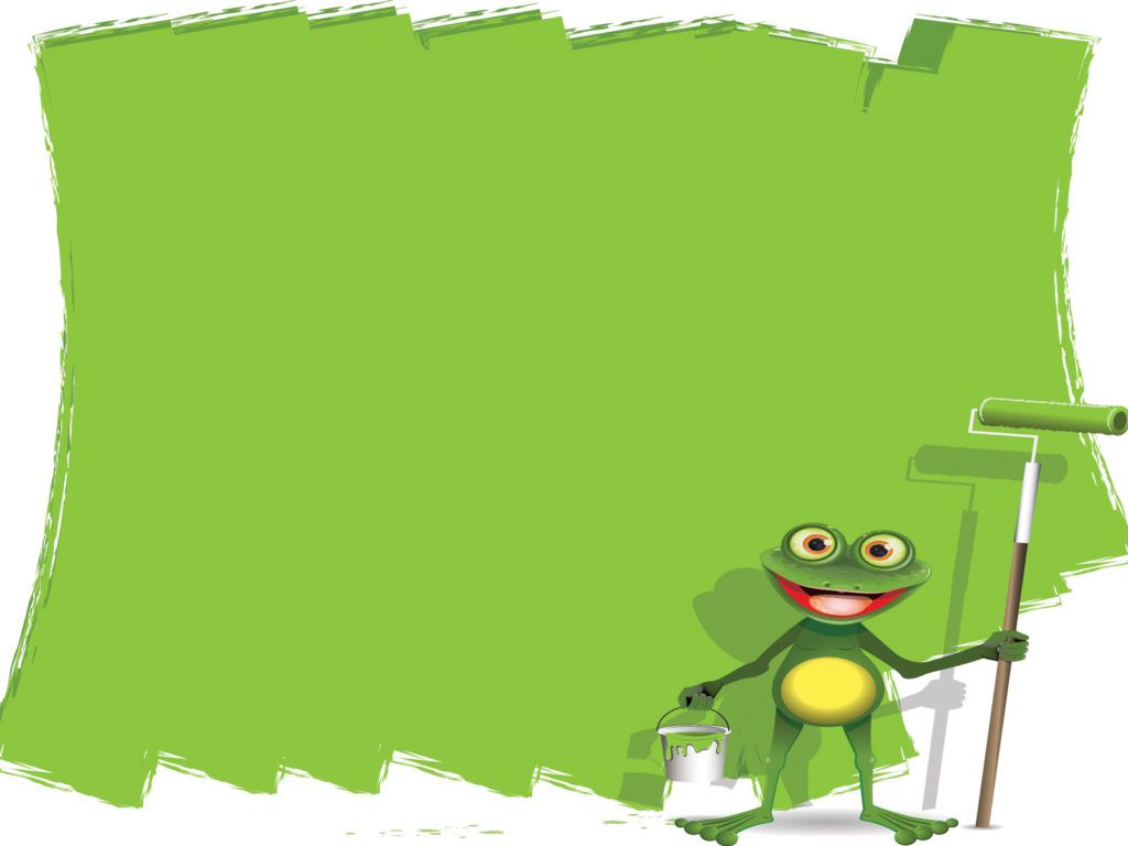 cartoon painter frog powerpoint ppt backgrounds - animals, green, Modern powerpoint