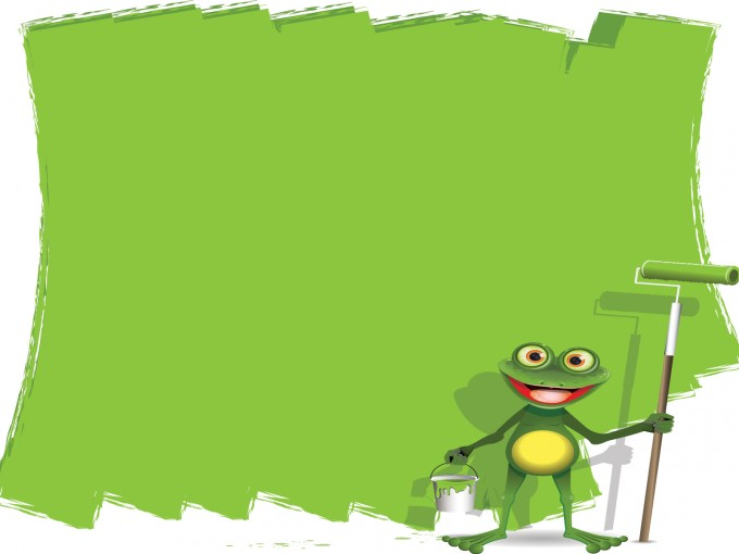 Cartoon Painter Frog Powerpoint PPT Backgrounds