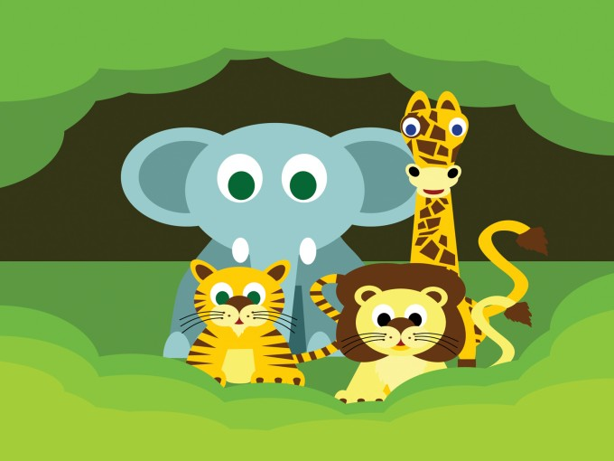 Elephant, lion and giraffe PPT Backgrounds