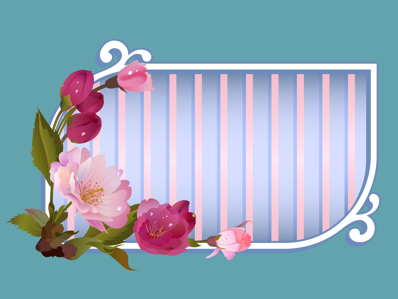 Flowers Window Title Frame Backgrounds