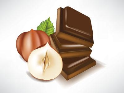 Hazelnut and chocolate foods backgrounds