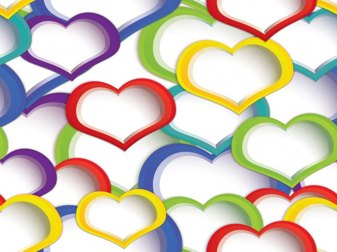 Rainbow Heart Design for Powerpoint PPT Backgrounds