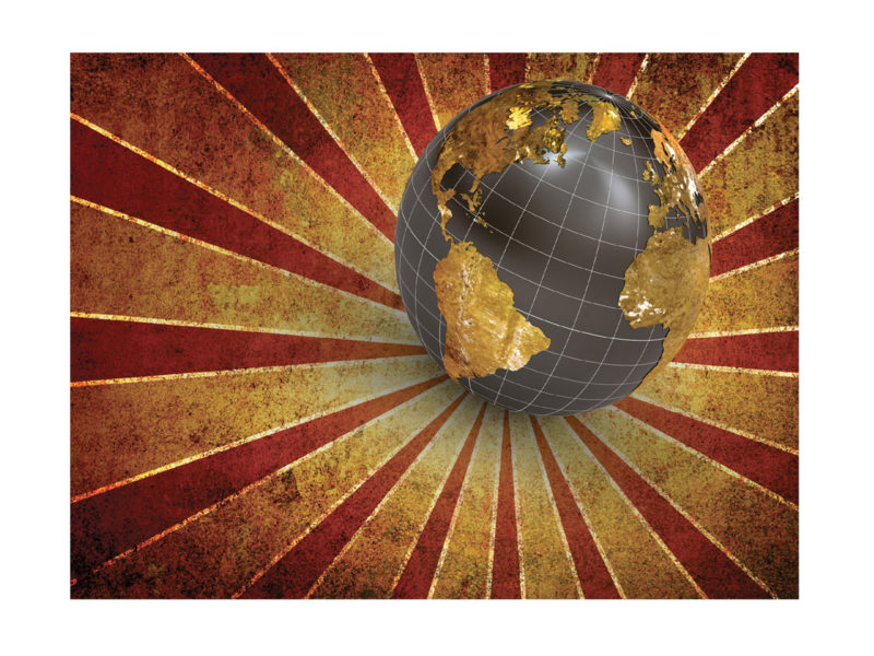 Retro globe celebration ppt backgrounds