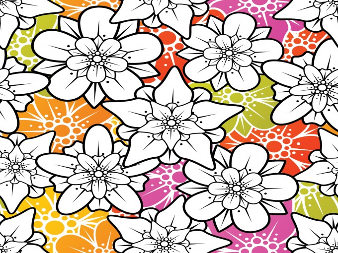 White Ornament Flowers PPT Backgrounds