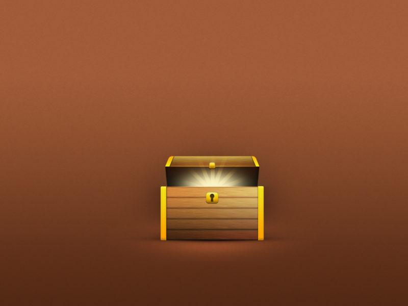 Wood and brass treasure jackpots box