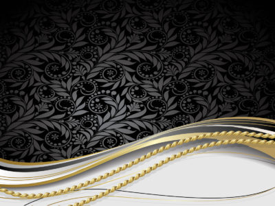 Black Golden Floral PPT Backgrounds
