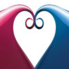Blue and Red Heart for Love Backgrounds