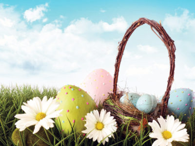 Easter Eggs with Flowers PPT Backgrounds