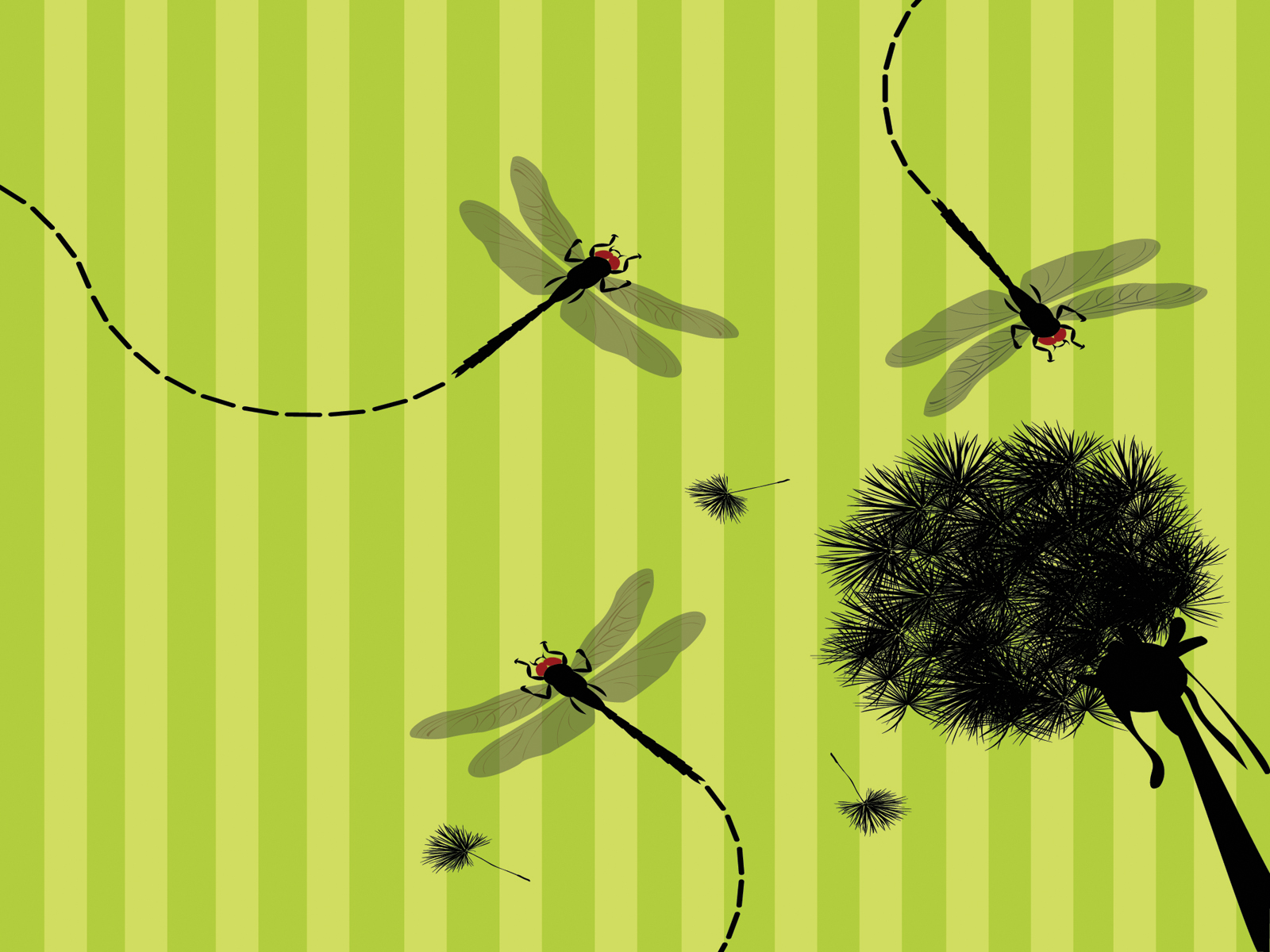 Green tree and dragonfly PPT Backgrounds