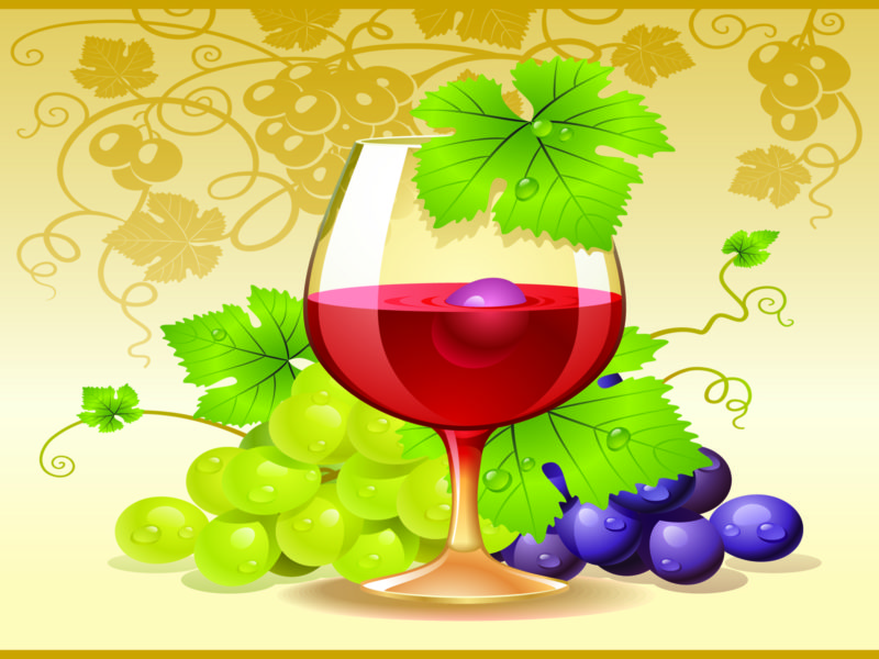 Red wine and grapes for cocktails ppt backgrounds